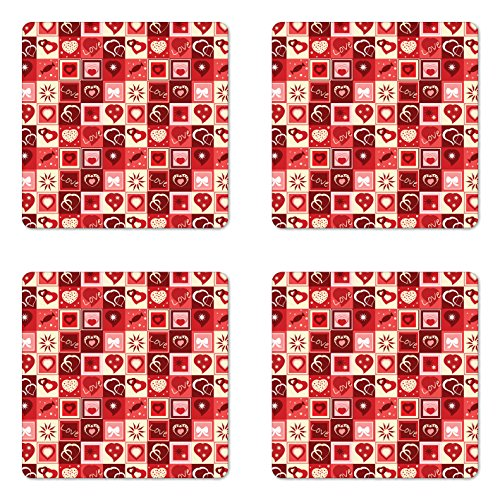 Ambesonne Red Coaster Set of Four, Valentines Day Themed Fra