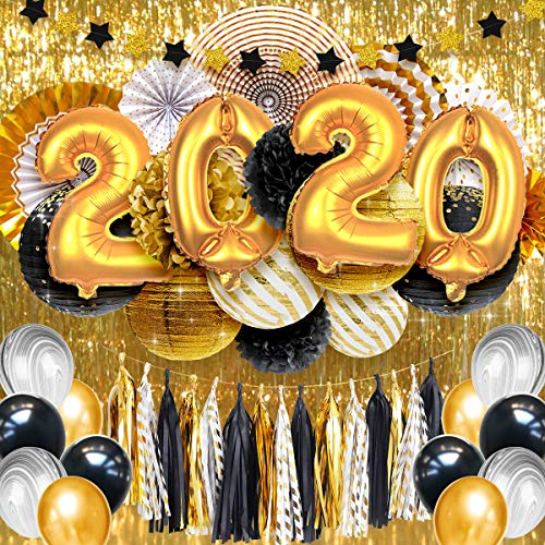 NICROLANDEE Black Gold 2020 Party Decorations - Balloons Metallic Backdrop Curtain Centerpiece Paper Lanterns Tissue Pom Poms Hanging Paper Fans for Graduation Anniversary Party (49PCS)