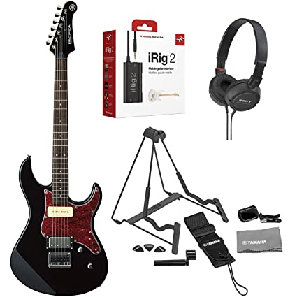 Yamaha PAC611H BL Pacifica Electric Guitar (Black) with On-Ear Stereo Headphones,