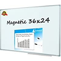 Lockways Magnetic Whiteboard Dry Erase Board 900 X 600 mm- Magnetic Whiteboard, Silver Aluminium Frame (Set Including 1 Aluminum Pen Tray& 1 Dry Erase Markers & 2 Magnets)