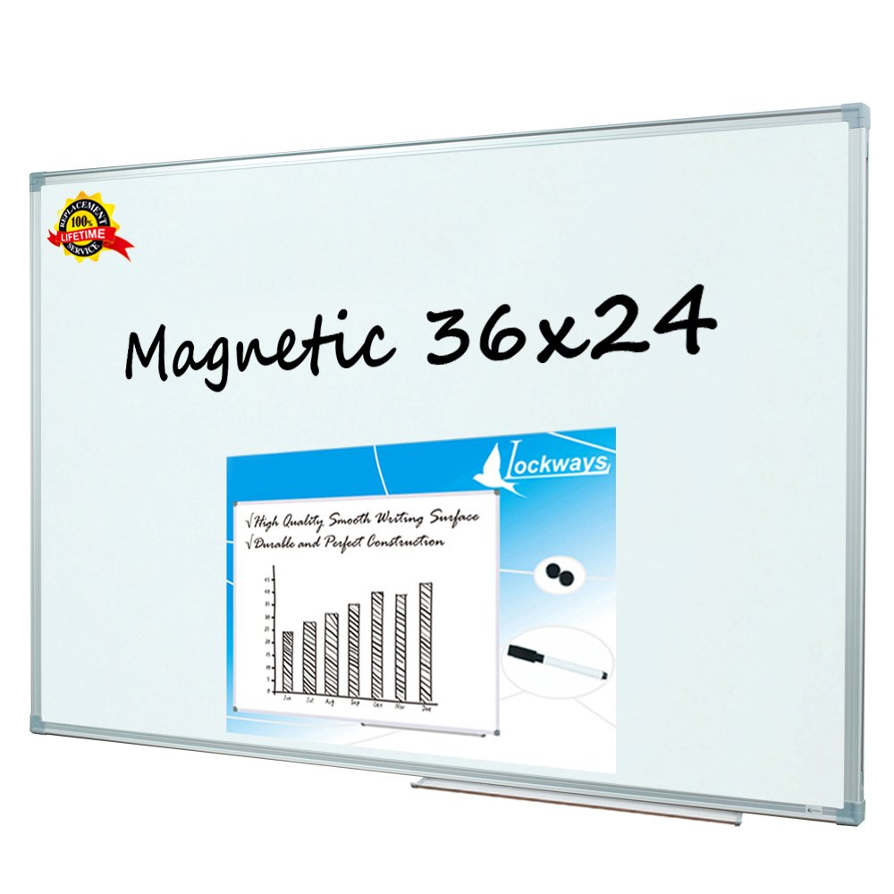 Lockways Magnetic Dry Erase Board - Magnetic Whiteboard/White Board 36 x 24 inch, 3 x 2 Silver Aluminium Frame, 1 Aluminum Marker Tray, 1 Dry Erase Markers, 2 Magnets for School, Home, Office
