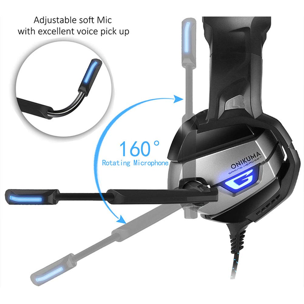 HUAN PC Gaming Headset for PS4 Xbox One, 3.5mm Stereo USB LED Headphones with Omnidirectional Microphone, Volume Control for Computer Laptop Mac Playstation 4 by HUAN (Image #3)