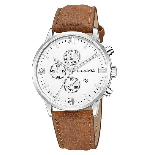 VEHOME Reloj de Lujo - Reloj de Cuarzo - Dial de Acero Inoxidable - Correa de Cuero-Relojes Inteligentes relojero Reloj reloje hombresRelojes de Pulsera ...