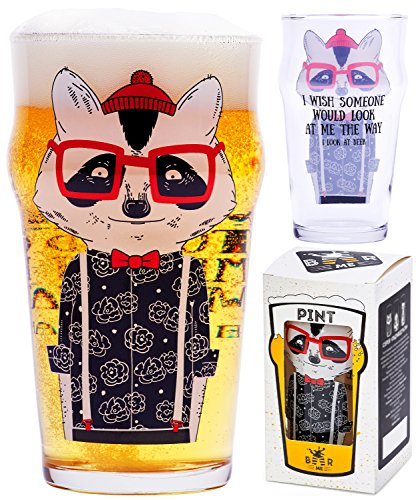 Beer Glass - Raccoon Hipster - 17 oz. - Perfect Funny Gift for Him, Coworker, Roommate, Geek and Present for Dad. Classic British Pint Shape. Specially for Beer Lovers. Premium - India Hipster Glasses