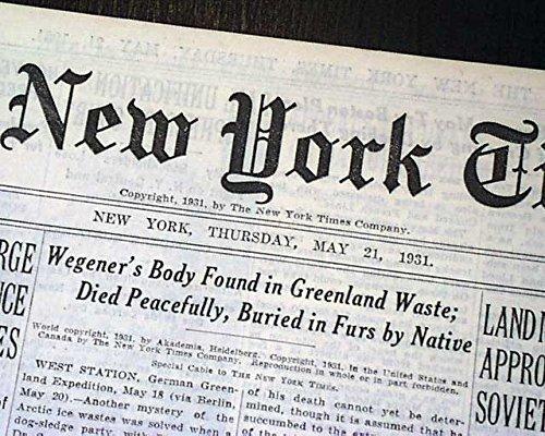 ALFRED WEGENER German Polar Arctic Pioneer Body FOUND Greenland 1931 Newspaper THE NEW YORK TIMES, May 21, 1931