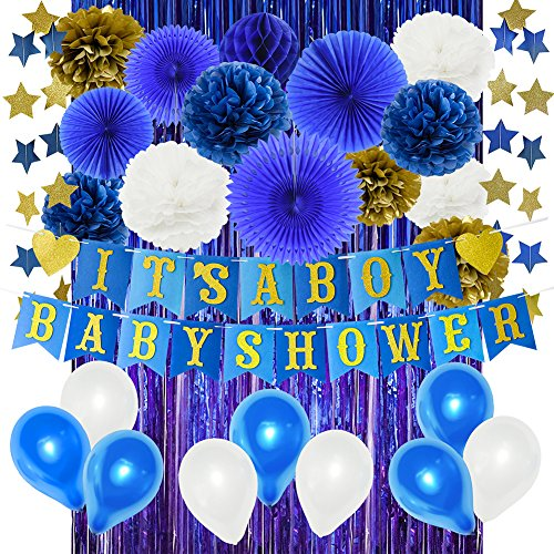 HappyField Navy Baby Shower Decorations for Boy Felt IT'S A BOY Baby Shower Banner Blue Foil Curtains Paper Fans Tissue Pom Poms Blue Gold Paper Star Garland Latex Balloons by HappyField