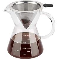 ComSaf Häll över kaffebryggare med rostfritt stålfilter, borosilikatglas karaff manuell kaffedroppare bryggare med…