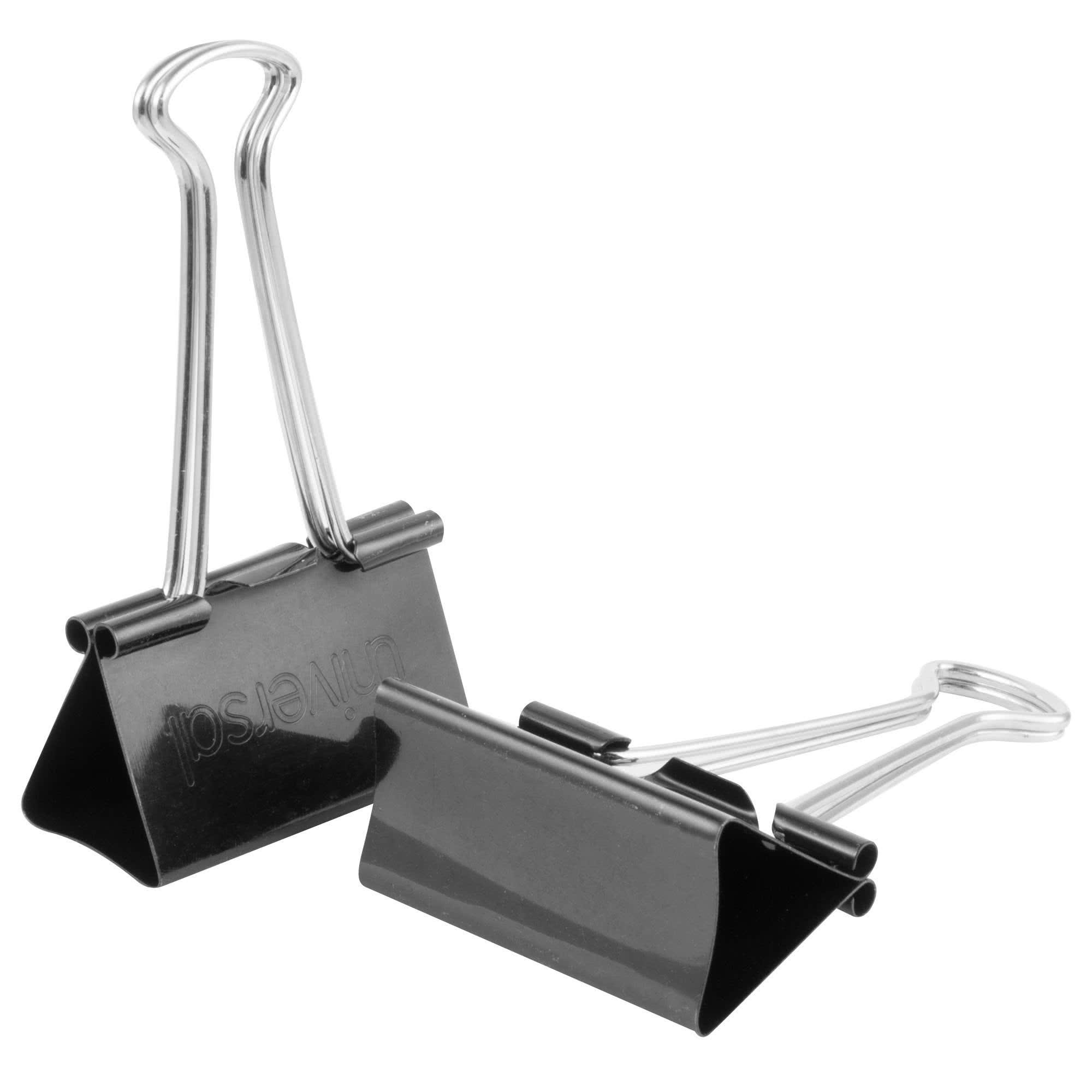 TableTop King UNV10220VP 1'' Capacity Black Large Binder Clip - 36/Box by TableTop King (Image #1)