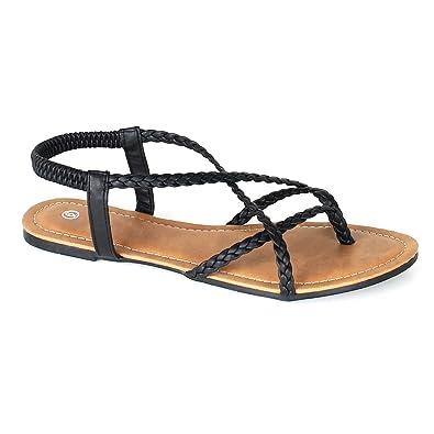 ANNA Womens Braided Strappy Gladiator Flat Sandal YStrap Thing Flip Flop  Sandals 55