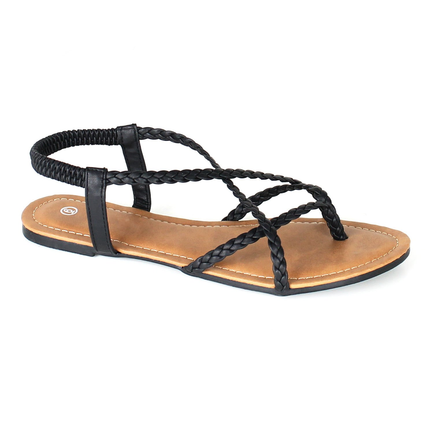 Anna Home Collection Anna Women's Braided Strappy Gladiator Flat Sandal Y-Strap Thing Flip Flop Sandals Black