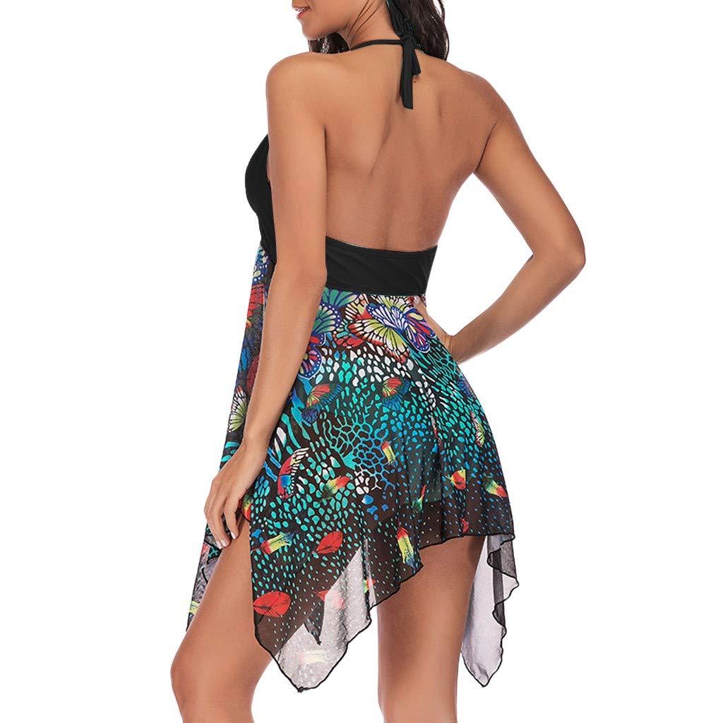 IAMUP Women Tankini Floral Print Swimwear Two Piece Print Bathing Asymmetric Picnic Colorful Swimdress Black by IAMUP (Image #2)