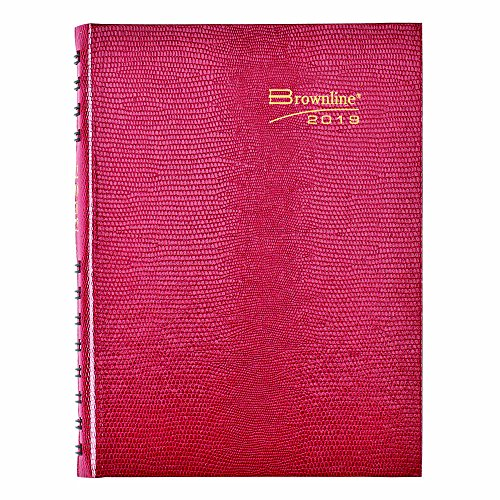 Brownline 2019 Planner, CoilProTM Daily Journal, Untimed, Bright Red, 8.25 x 5.75 inches (CB389C.Red-19)
