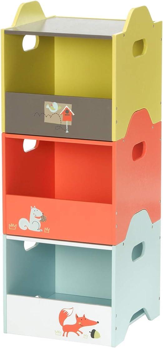 HONNIEKIS Caja de Madera Almacenamiento Infantil - Lado Abierto,Cajas de Almacenamiento apilables de 3 Colores para Juguetes, Juguetes, guardería, Ropa para bebés y Organizador de Libros.: Amazon.es: Hogar