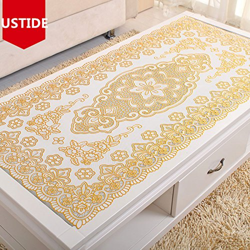 USTIDE Vinyl Tablecloth Gold Sequin PVC Table Cloth Eco-Friendly Waterproof Table Overlays Oblong Stain Resistant Table Runner 23.6