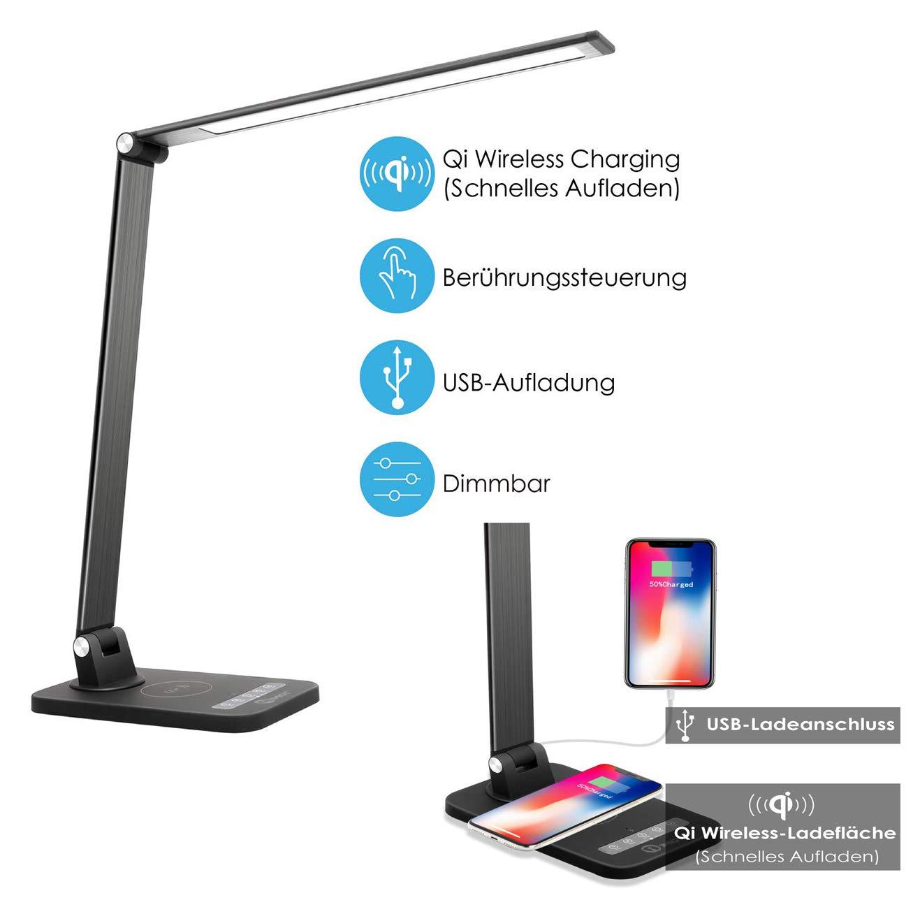 ImiGY 12W Dimmbare LED-Schreibtischlampe mit USB Kabellose Qi-Ladelampe, Dimmbare Bürolampe, Touch-Control mit 6 Helligkeit 5 Farbmodi für iPhone 8 8Plus X Xs Xs Max und Galaxy S8 S9