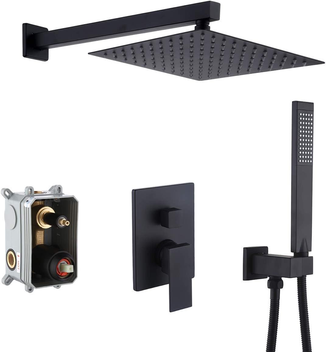 KES Pressure Balancing Rain Shower System Rough-in Valve Trim Kit Shower Faucet Set Complete Square Matte Black, XB6230-BK - -