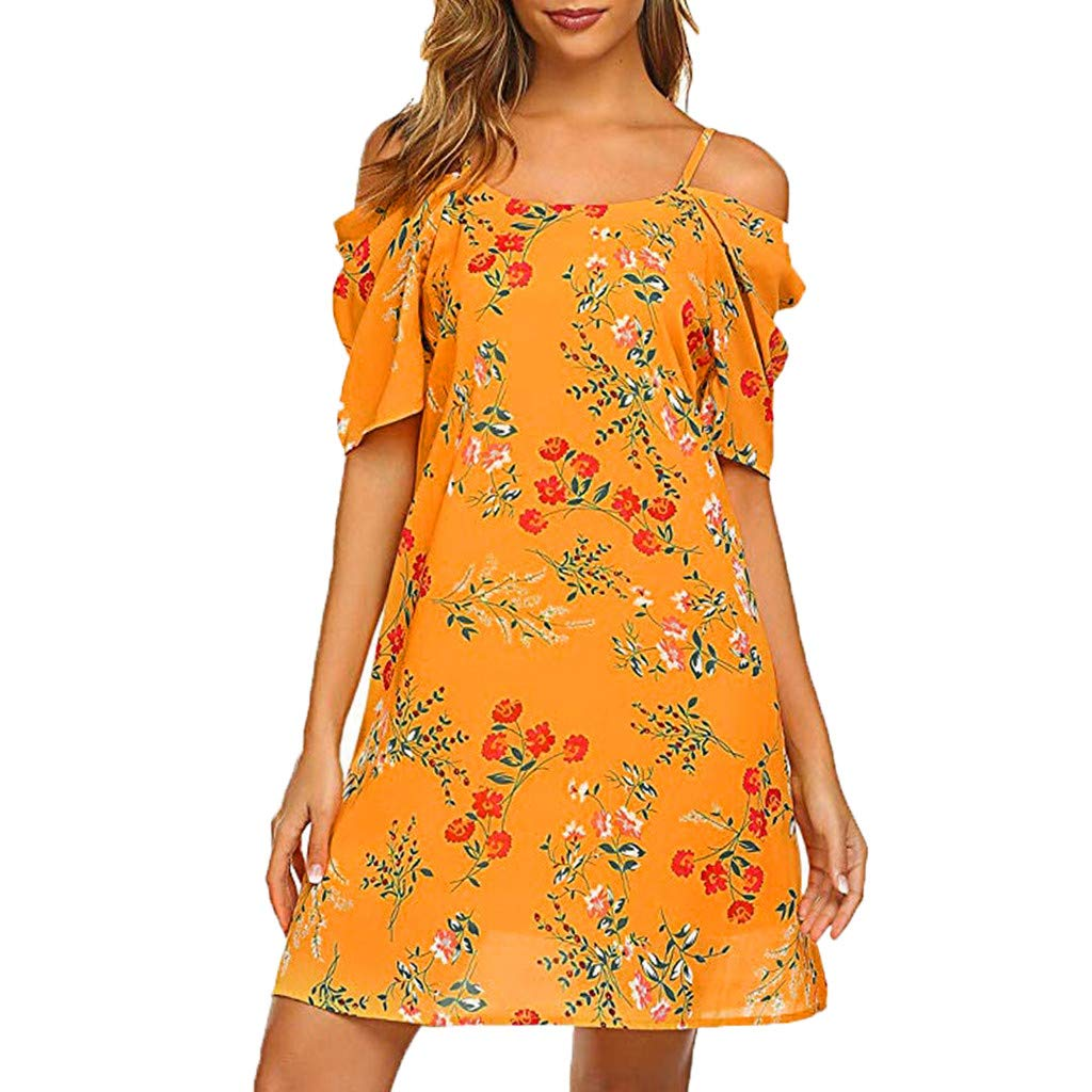 Tantisy ♣↭♣ Women's Summer Chiffon Floral Printed Cold Shoulder Loose Short Dress Adjustable Straps Orange by Tantisy ♣↭♣ Fashion Women's
