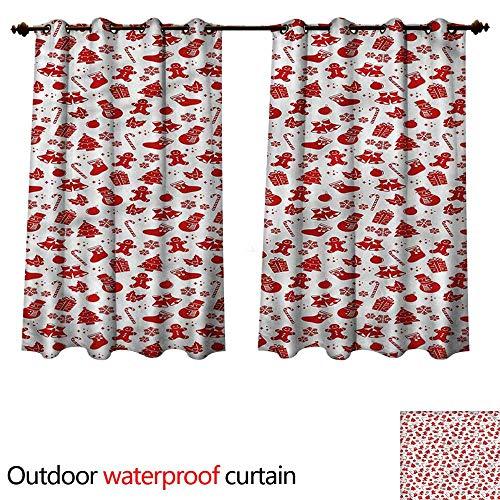 - cobeDecor Christmas Outdoor Curtains for Patio Sheer Gingerbread Xmas Bell W96 x L72(245cm x 183cm)