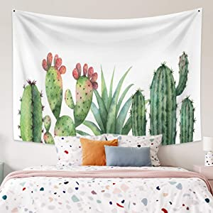 Yongto 59.1x39.4 Inches Cactus Tapestry Floral Green Plants Tapestry Watercolor Saguaro Succulent Tapestry Wall Hanging for Bedroom Living Room Home Decor