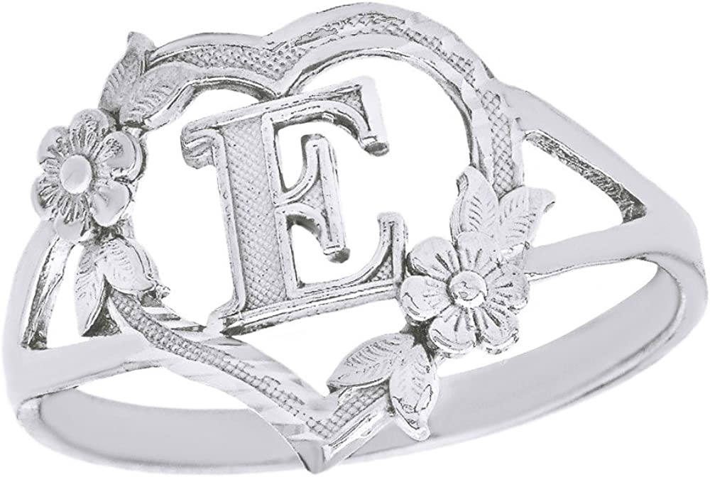 CaliRoseJewelry 10k Gold Initial Alphabet Personalized Heart Ring Letter E