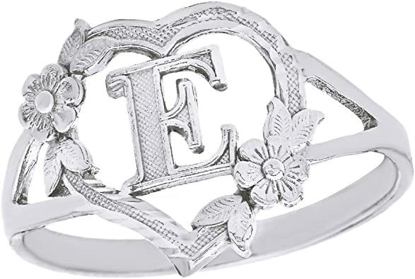 CaliRoseJewelry Silver Initial Alphabet Personalized Heart Ring Letter L