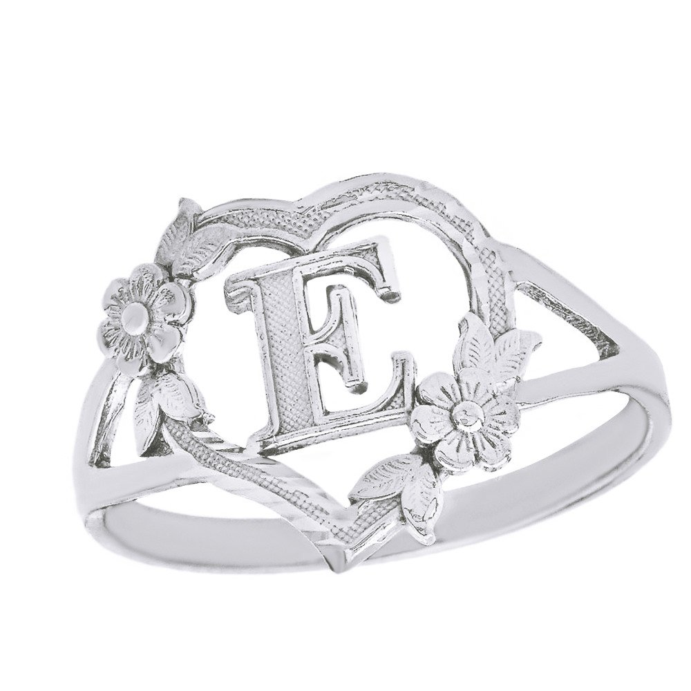 CaliRoseJewelry Sterling Silver Initial Alphabet Heart Personalized Ring (Size 7) - Letter E