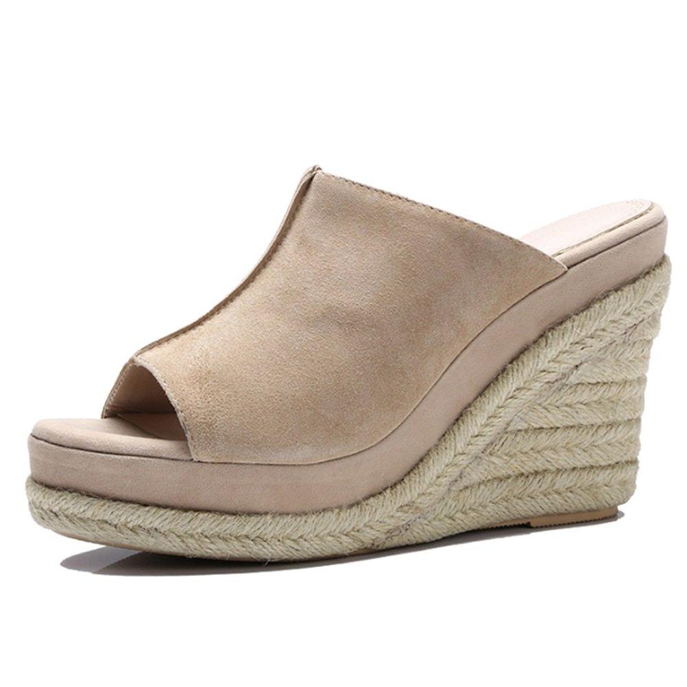 Flip Flops Gemütlich Sommer-Piste mit Outdoor-Pantoffeln Mode-Open-Toed-Schuhe High-Heeled Wilde Schuhe (2 Farben optional) (Größe optional) Erhöht
