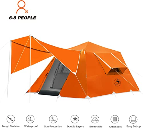 4-6 Person Camping Tent Windproof Family Dome Tent with Screen Room Easy Set Up for Backpacking Hiking Mountaineering