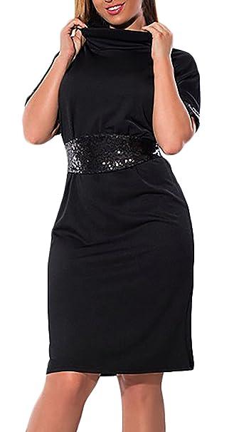 Mujer Vestido Mujer Fiesta Talla Grande Moda Bonita Espumoso Lentejuelas Splice Vestidos De Casual Noche La Rodilla Cuello Redondo Manga Corta Slim Fit ...