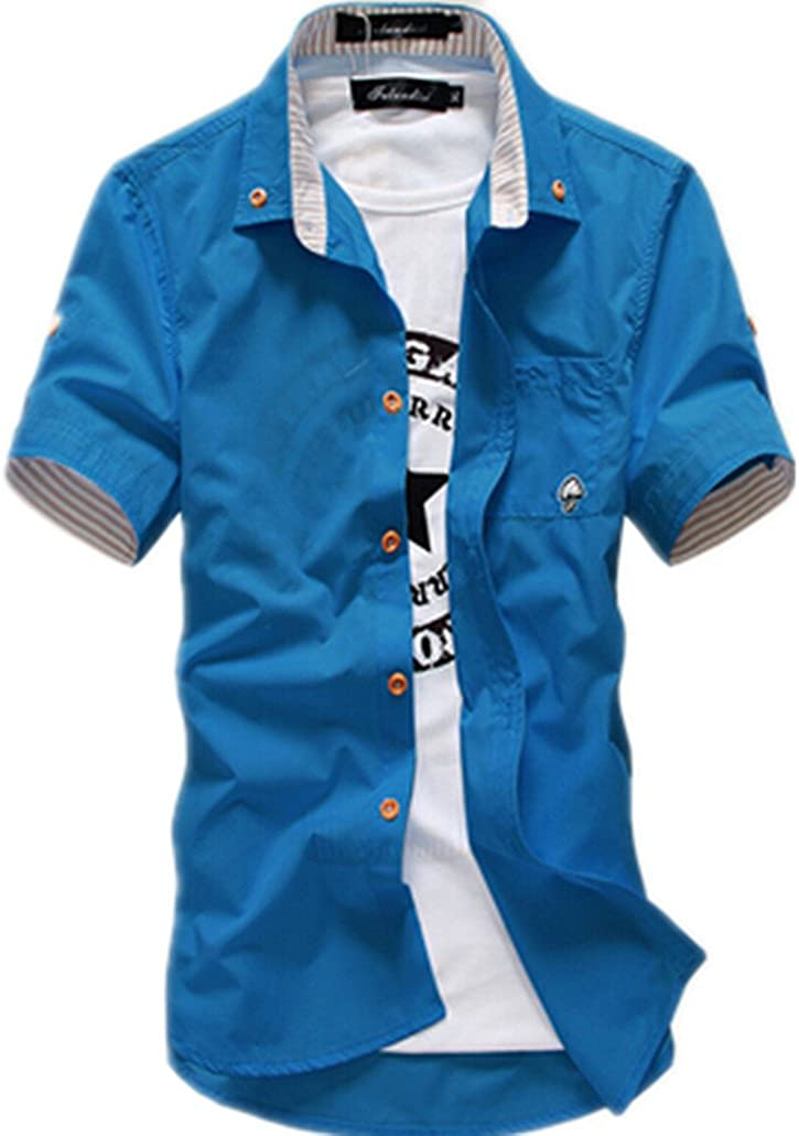 MenS Boutique Color Matching Casual Cotton Short Sleeve Shirt
