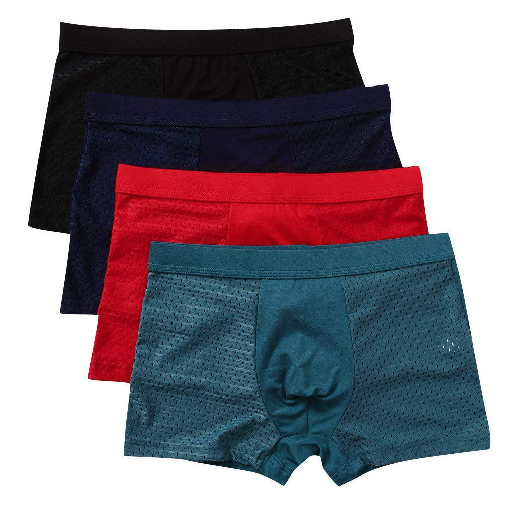 RNTOP Men/'s Ice Silk Hollow-Out Stitching Underwear Breathable Extra Soft Ultra-Thin Mesh Boxer Briefs