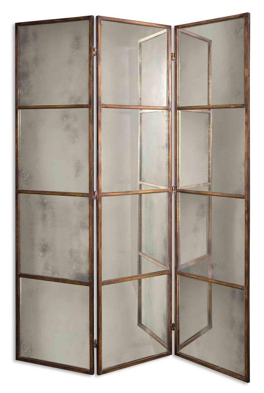 Amazoncom 80 x 63 Avidan Mirrored 3 Panel Room Divider Wall