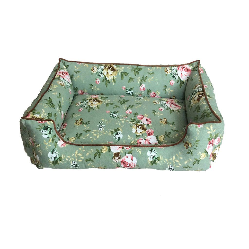 A 100cm Deluxe Soft Printed Fabric Dog Pet Warm Basket Bed Cushion Sofa, Detachable and Washable (color   A, Size   100cm)