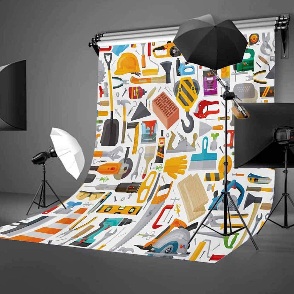 Construction 10x15 FT Photography Backdrop Construction Tools in Cartoon Style Engineering Fixing Repairing Building Background for Party Home Decor Outdoorsy Theme Vinyl Shoot Props Multicolor