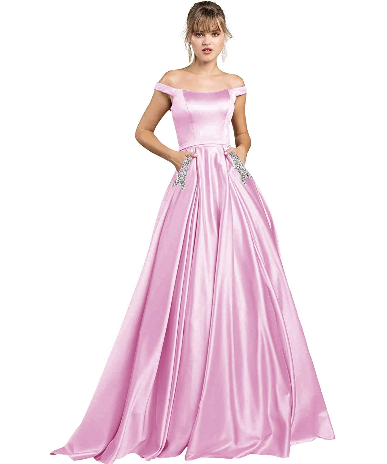 Pink Yilis Women's High Neck Halter A Line Satin High Low Prom Dress Wedding Evening Dress