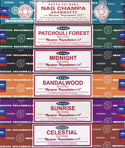 Satya - Set of 6 - Nag Champa, Sunrise, Sandalwood, Midnight, Patchouli, Celestial 15 grams - incensecentral.us