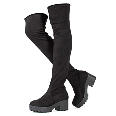 e4ba5d9d262e Womens Thigh High Platform Boots Sexy Chunky Block Heel Stretch Pull on  Over The Knee Tall
