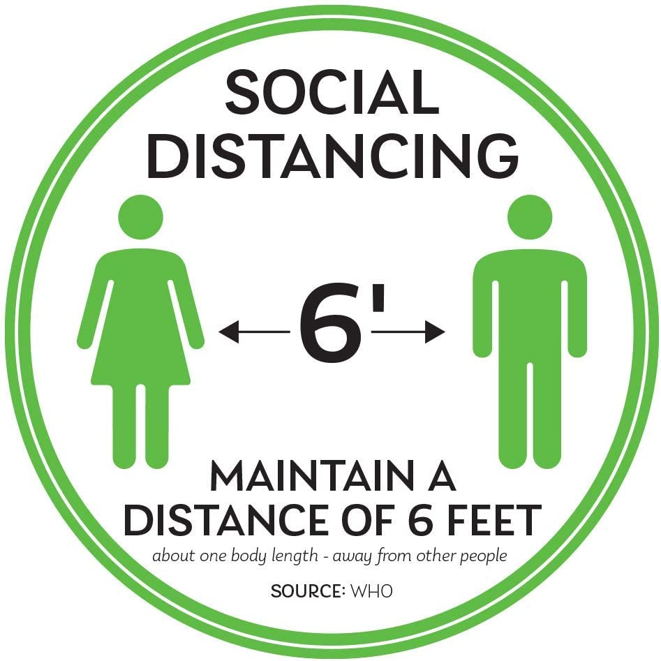 Commercial Grade. Pack 5 Anti-Slip Marker to Maintain Distance - Round Vinyl Removable Stickers 11 Safety Signs 6 Feet Apart Social Distancing Floor Decals Waterproof Adhesive