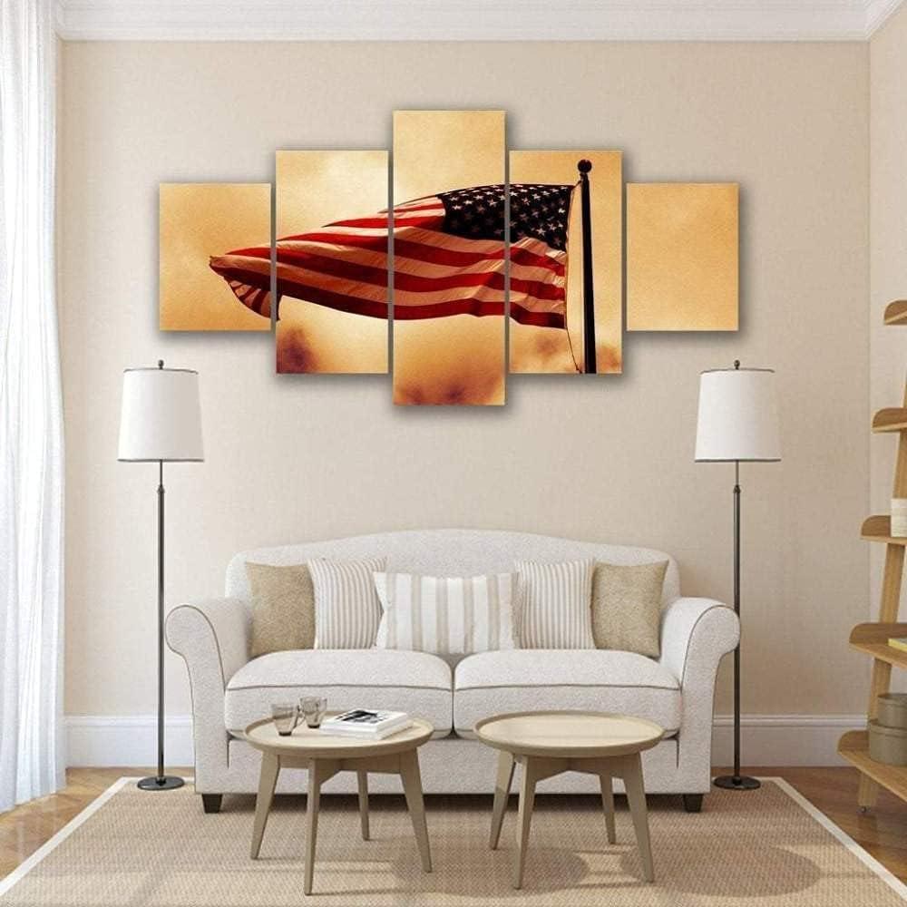 GSDFSD Pintura en Lienzo artística Decorativa Bandera Americana ondeando en el Viento Impresión de 5 Piezas Material Tejido no Tejido Impresión Artística Imagen Gráfica Decoracion de Pared