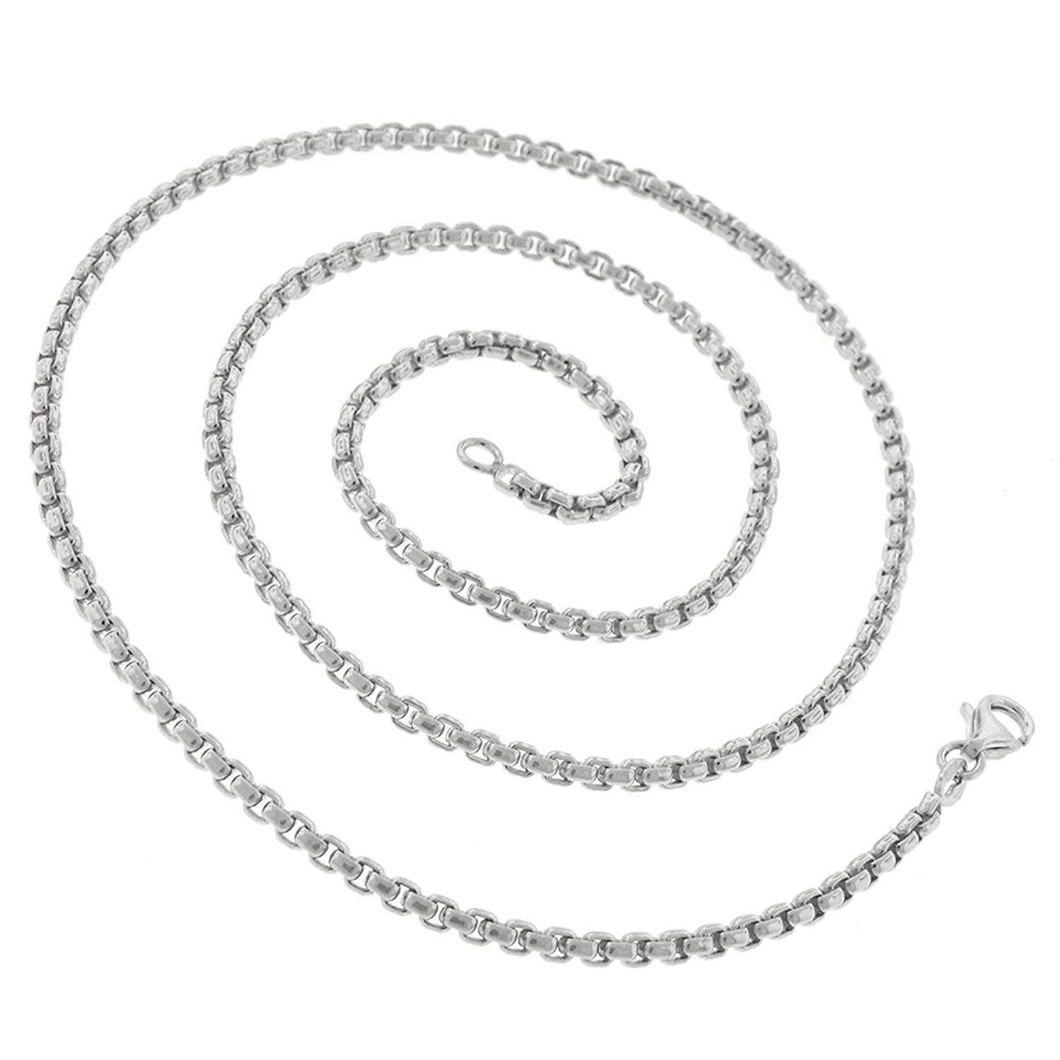Men /& Women 16-30 14k White Gold Round Box Cable Rolo Link Necklace Chains 2MM 2.5MM Real 14k Gold In Style Designz