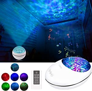 LOBKIN Ocean Wave Projector and Night Light Projector with Built-in Music Player Baby Bedside Lamp Sleeping Soothing White Noise Sound Machine for Kids Living Room Bedroom (White)