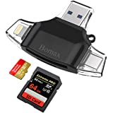 SD Card Reader,BOMAX TF card reader & USB C Card Reader Memory Card Camera Reader Adapter for iPhone iPad GALAXY S8 Android Apple Mac,With Lightning Micro USB 3.0 Connector-BLACK
