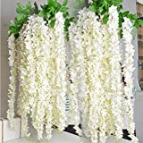 e-joy 3.6 Feet Artificial Wisteria Vine Ratta Silk Hanging Flower Wedding Decor, 24 Pieces -White