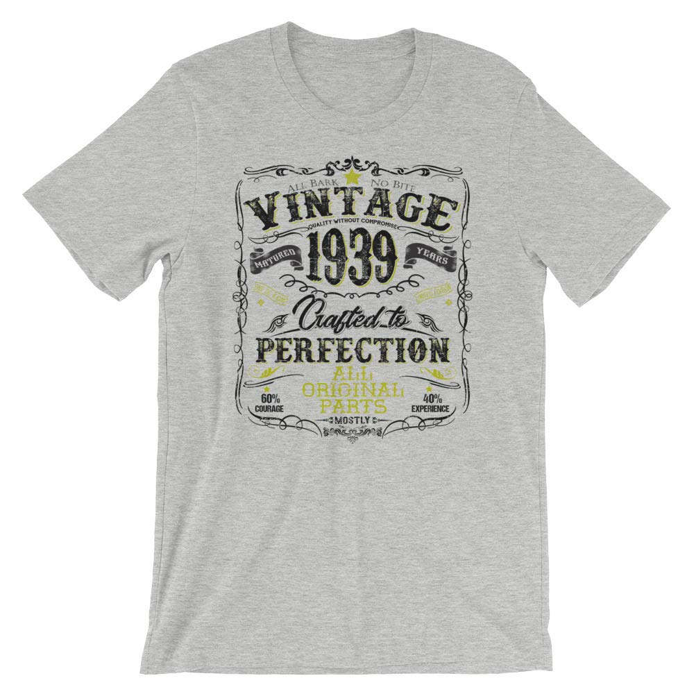 Vintage Retro 1939-80th Birthday Gift T-Shirt for Men and Women