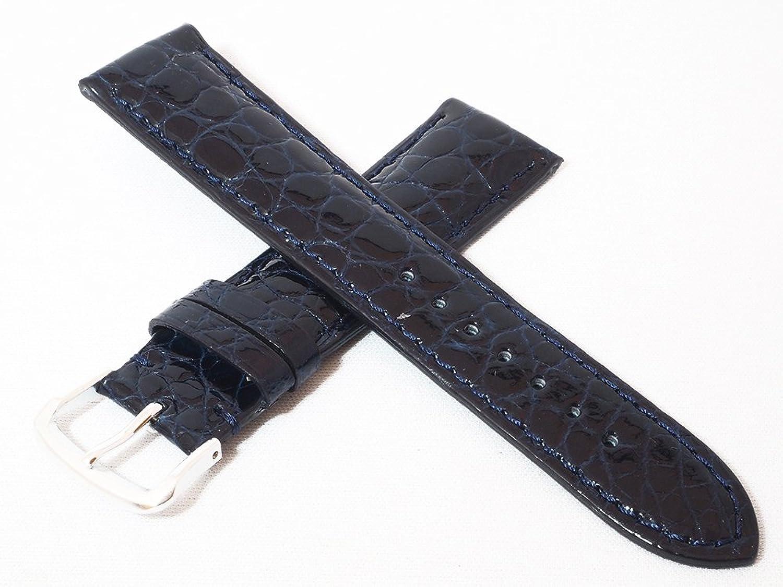 日本製 最高峰の職人によるハンドメイド 22mm 艶ありクロコダイル(玉符) ダークブルー 時計バンド シルバー尾錠 時計ベルト Made in Japan CROS-Dbl22ss  B07525918C