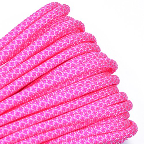 Bored Paracord - 1', 10', 25', 50', 100' Hanks & 250', 1000' Spools of Parachute 550 Cord Type III 7 Strand Paracord Well Over 300 Colors - White w/Neon Pink -