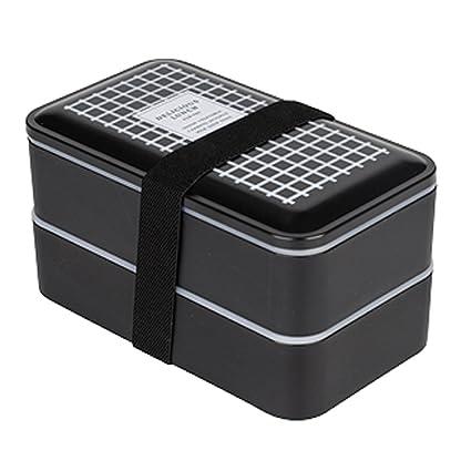 TAMUME Negro Fiambrera de 2 Niveles con Reutilizable Cuberteria, Incluso Compartimientos de Alimentos Separados para