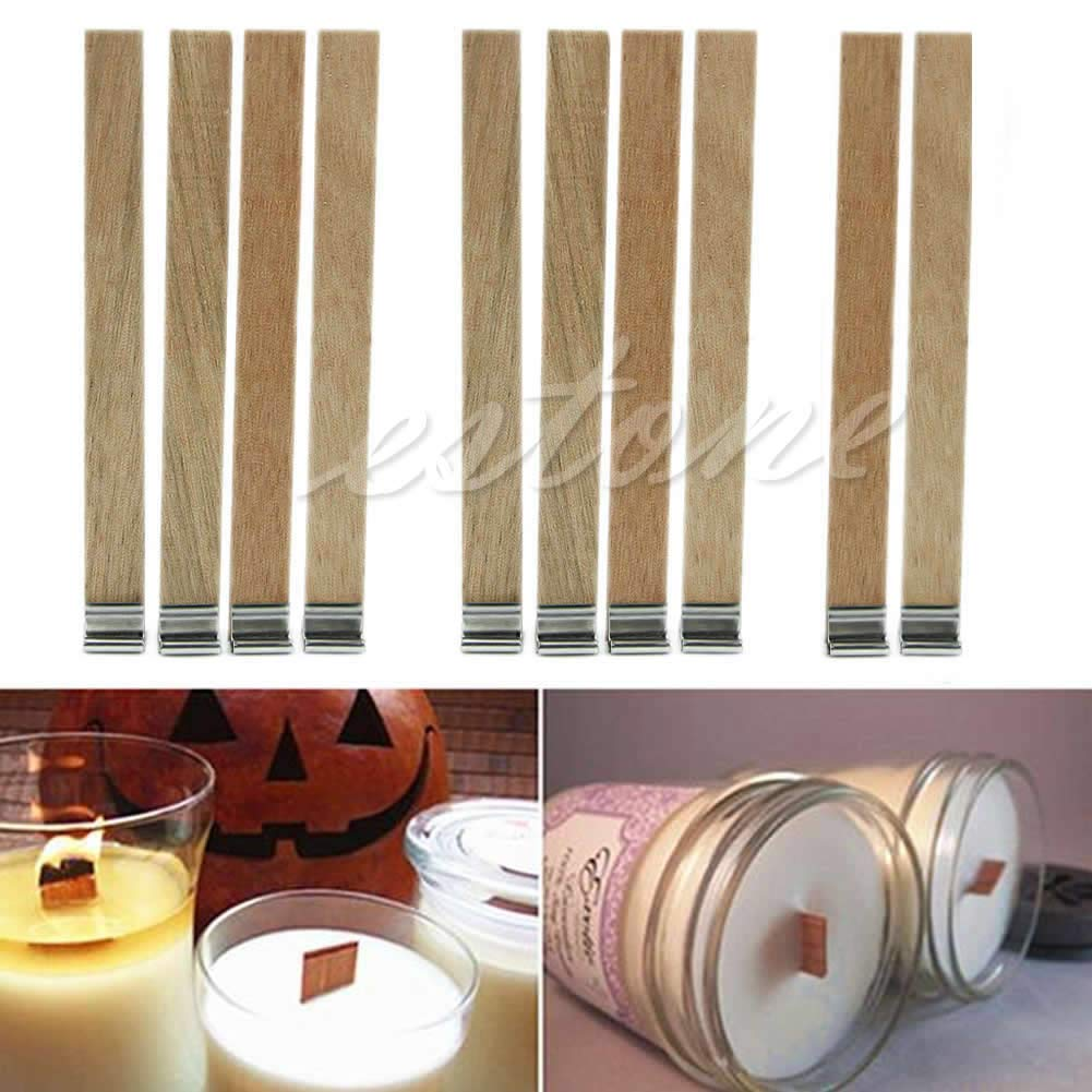 SimpleLife 10 Piece Candle Wood Wick with Sustainer Tab Candle Making Supply