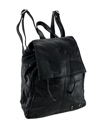 Amazon.com: Black Lambskin Leather Drawstring Backpack Purse: Clothing