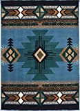 Rugs 4 Less Collection Southwest Native American Indian Area Rug Design R4L 318 Light Blue (8'x10')